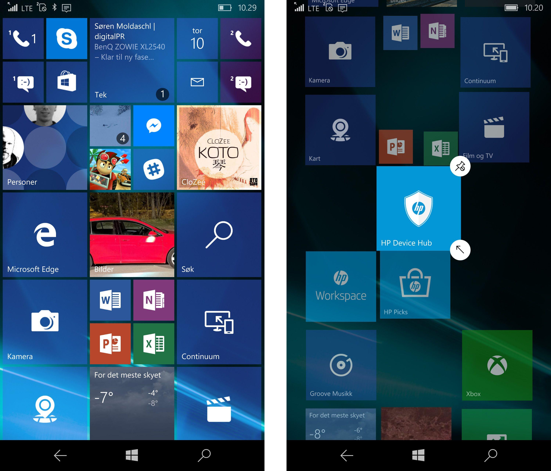 Hjemmeskjermen i Windows 10 på telefoner er ganske grei å bruke, men de aktive flisene som skal gi informasjon er ikke alltid så gode. Facebook-flisen har varslet om fire uleste varslinger i nesten hele testperioden.