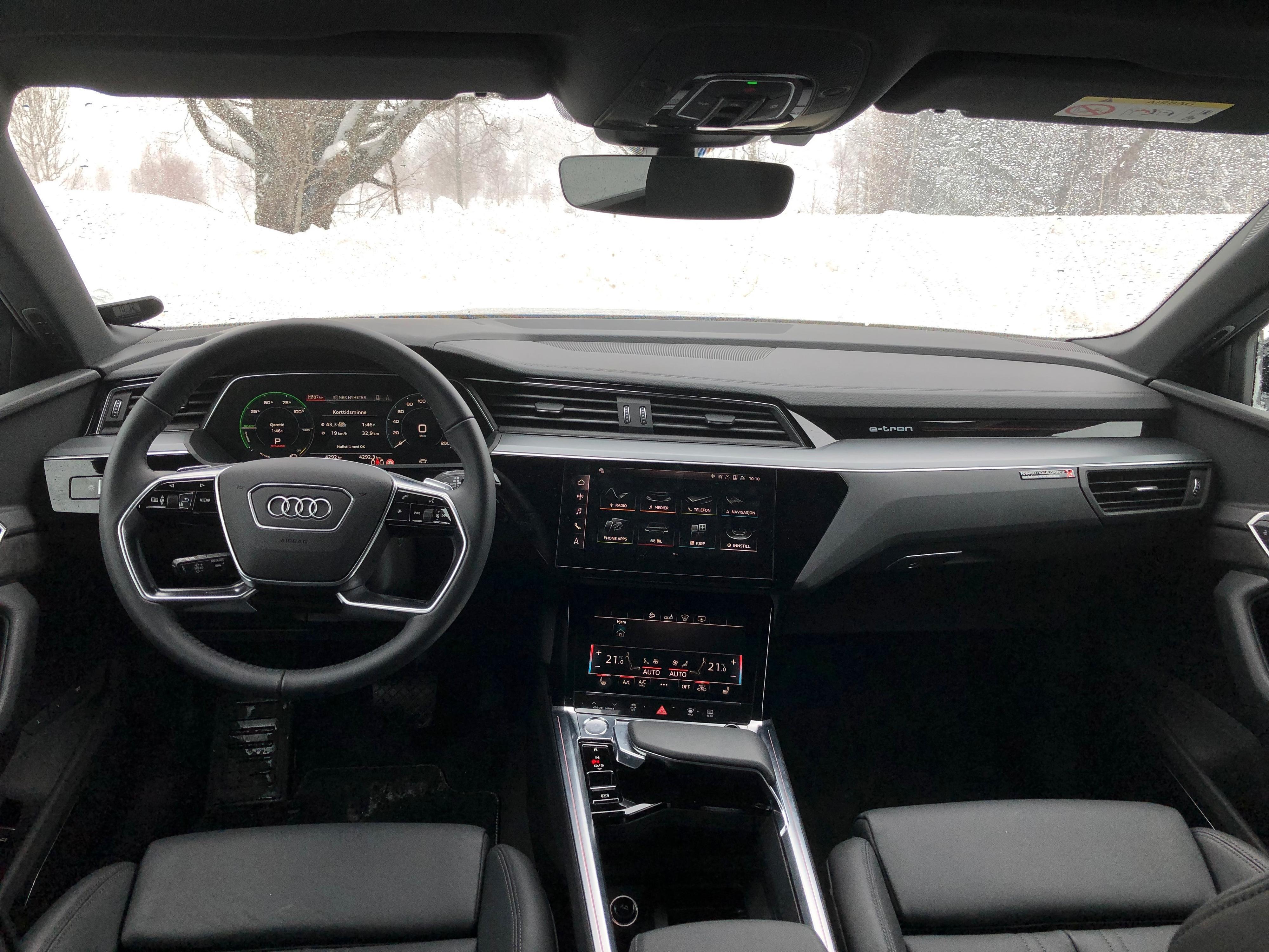 Slik ser Audi e-tron ut på innsiden.