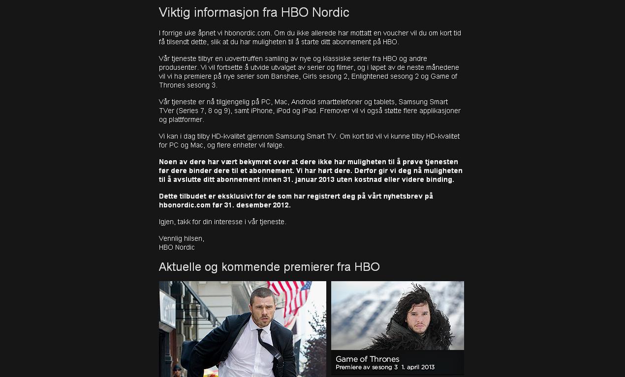 Gårsdagens e-post fra HBO Nordic.Foto: HBO Nordic