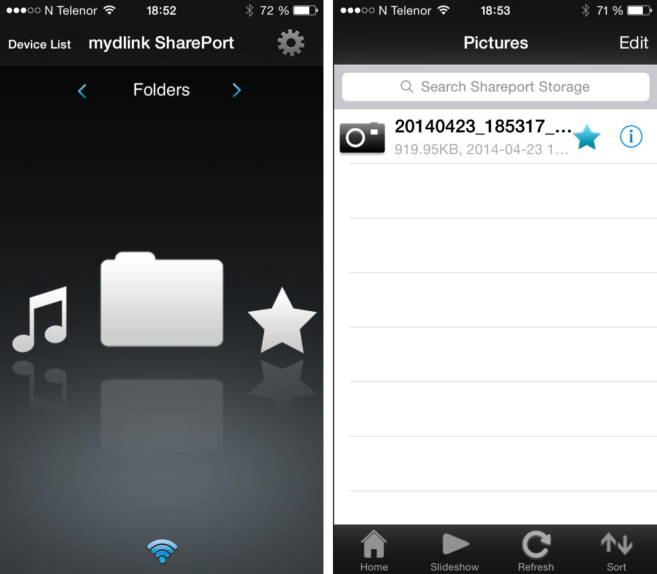 Med MyDlink SharePort-appen får mobilen eller nettbrettet ditt tilgang til filer på USB-minnepinner koblet til D-Link DIR-510L.