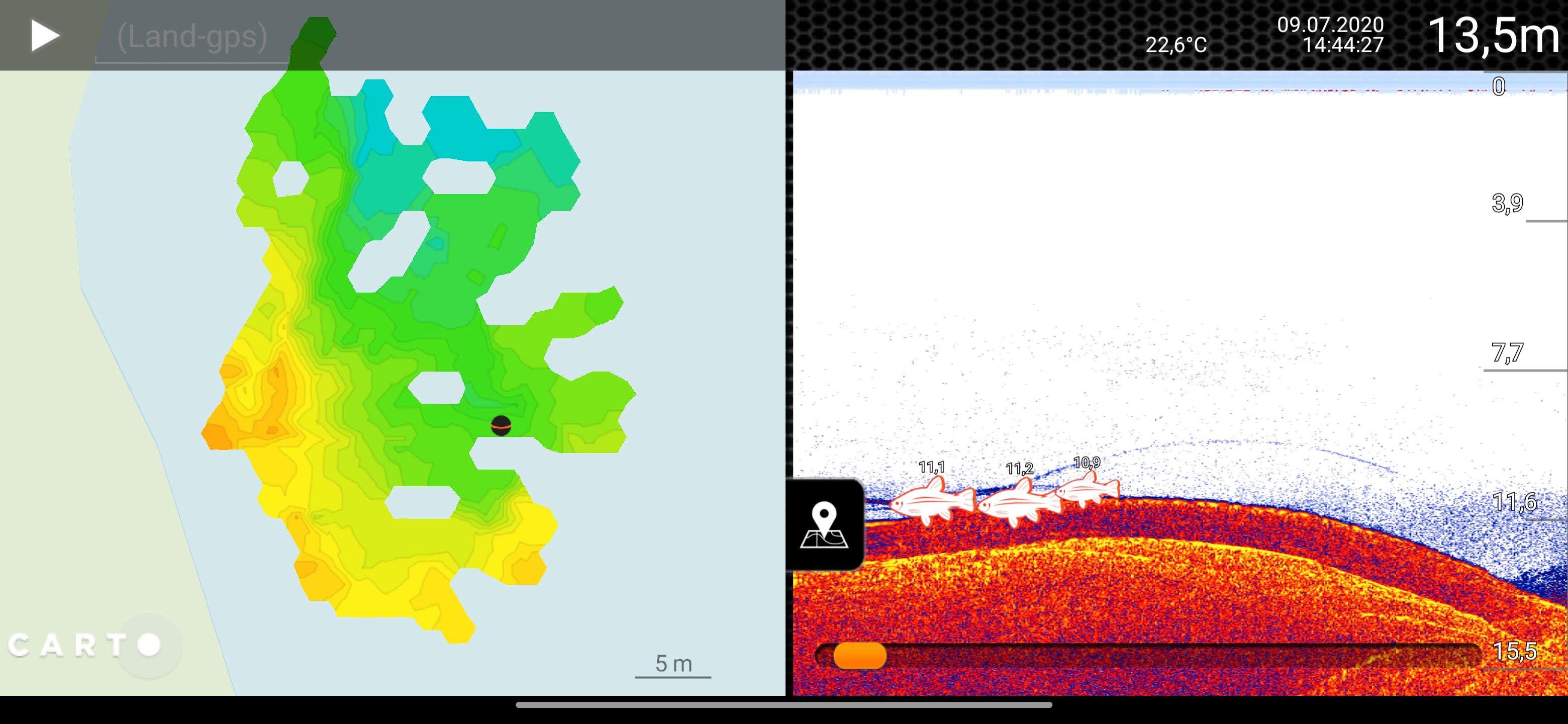 Appen gir deg informasjon om forholdene i vannet til høyre i skjermen, og tegner samtidig opp et dybdekart på den venstre.