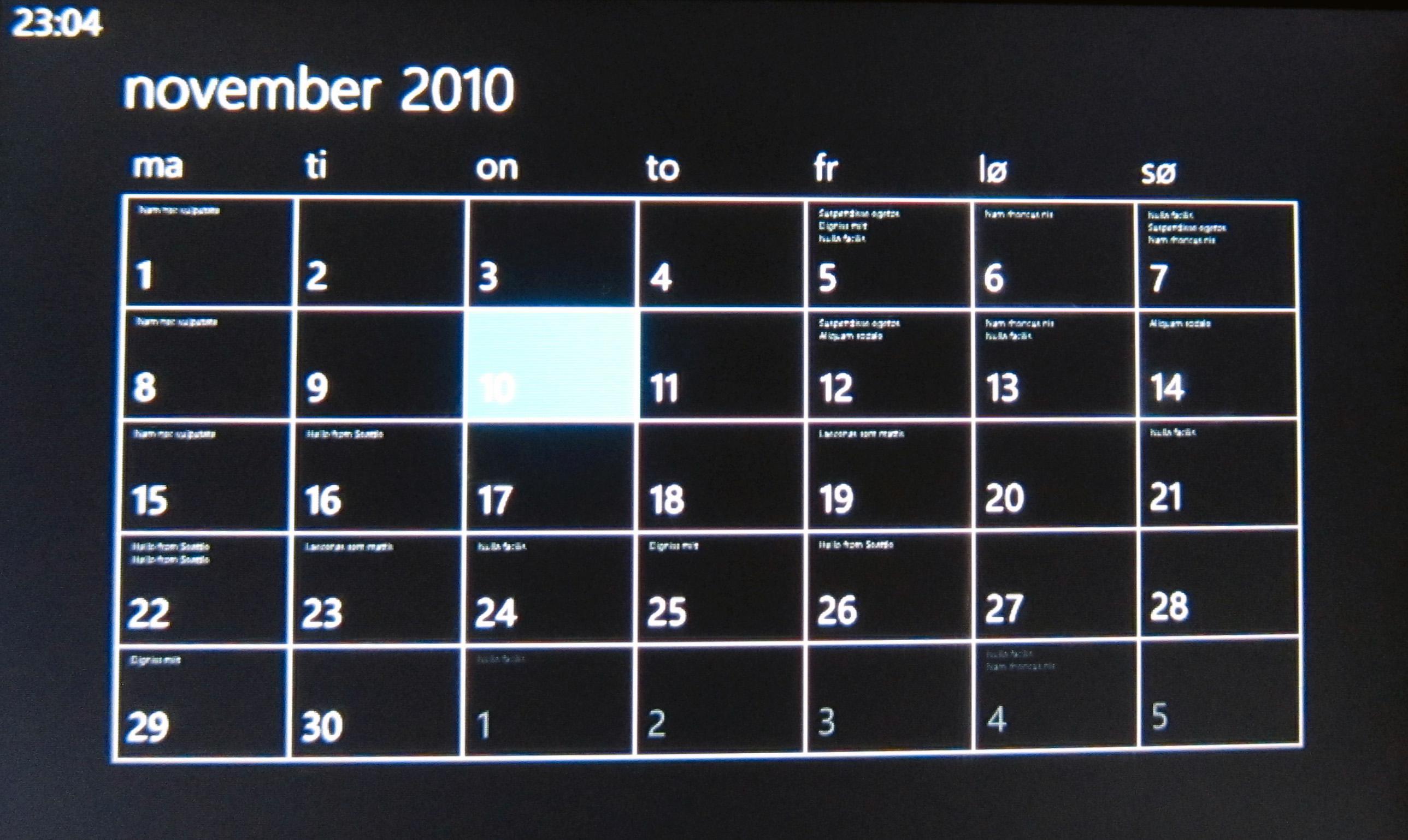 Heller ikke i kalenderen er plassen helt utnyttet.