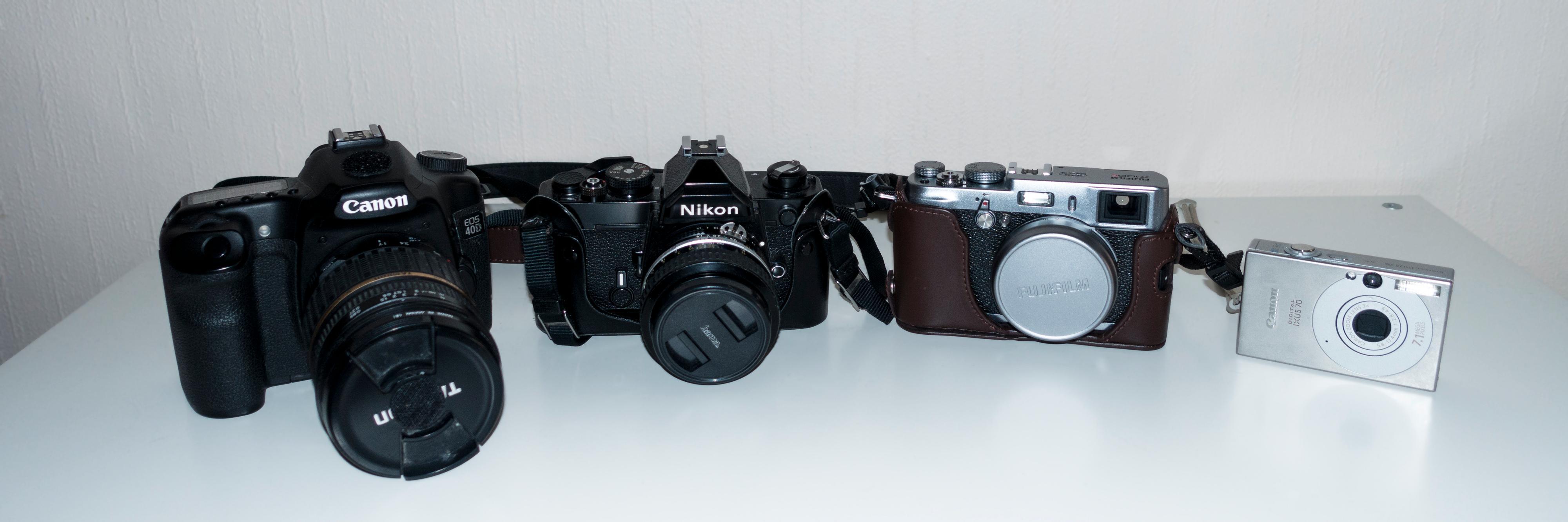 De ulike kameraene har ulike fordeler, og ulemper. (Foto: Kristoffer Møllevik)