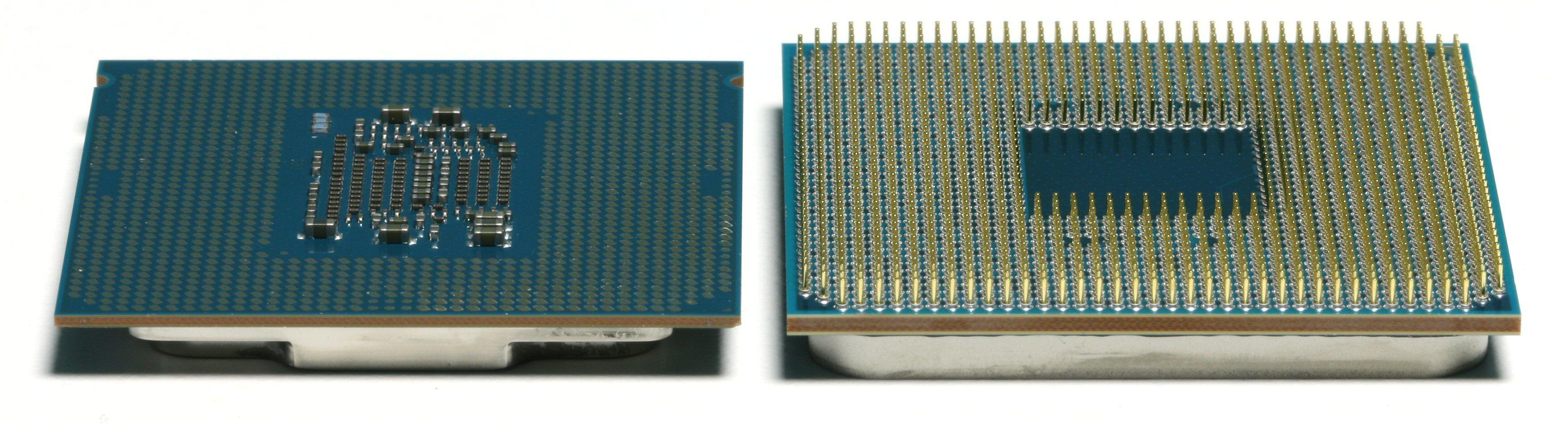 LGA og PGA: En Intel Kaby Lake-prosessor til venstre, en AMD Ryzen-prosessor til høyre.