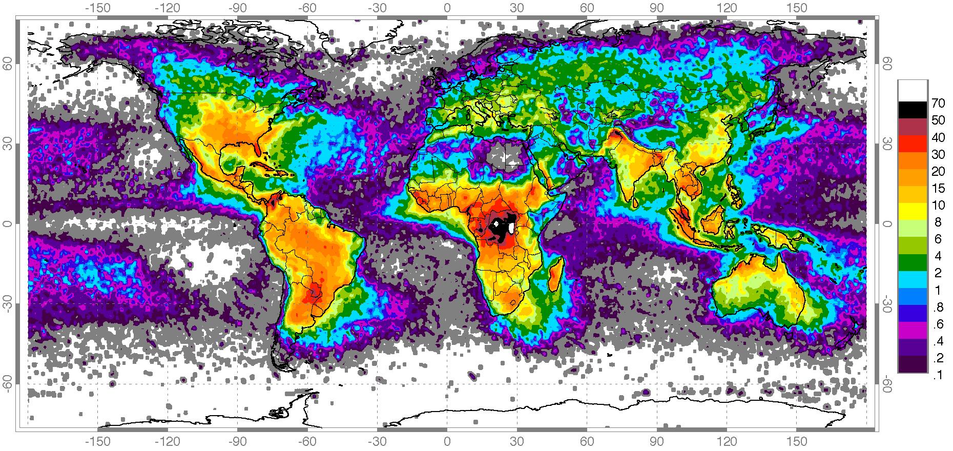 Antall lynnedslag per km²/år. Foto: NASA, NSSTC Lightning Team