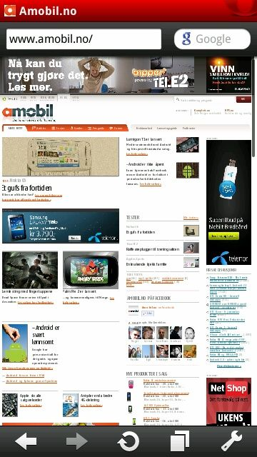 På N8 foretrekker vi nettleseren Opera Mobile, som er gratis og lett kan hentes i Ovi Store.