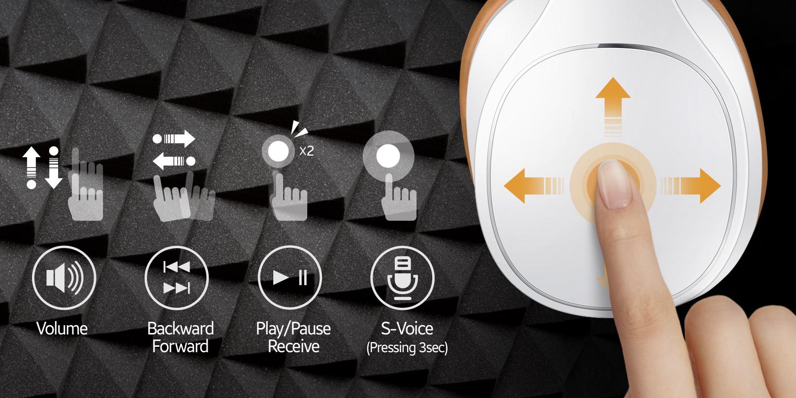 Du kan styre lyden med fingerberøringer på utsiden av høyre øreklokke. Kontrollene er presise og enkle.