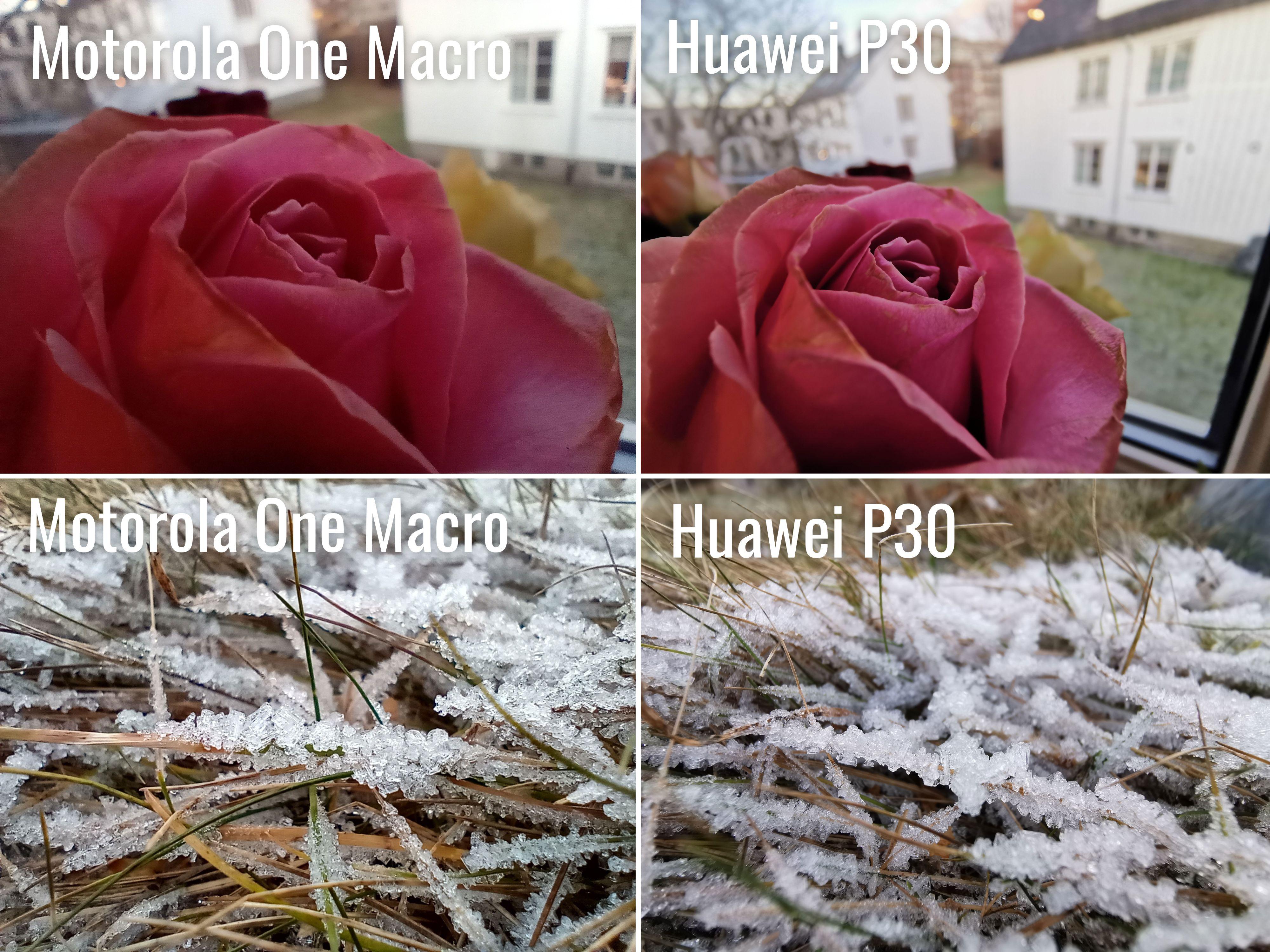 Andre telefoner, som Huawei P30, kan bruke vidvinkelkameraet sitt som makrokameraet. Og kvaliteten er naturlig nok betraktelig bedre.