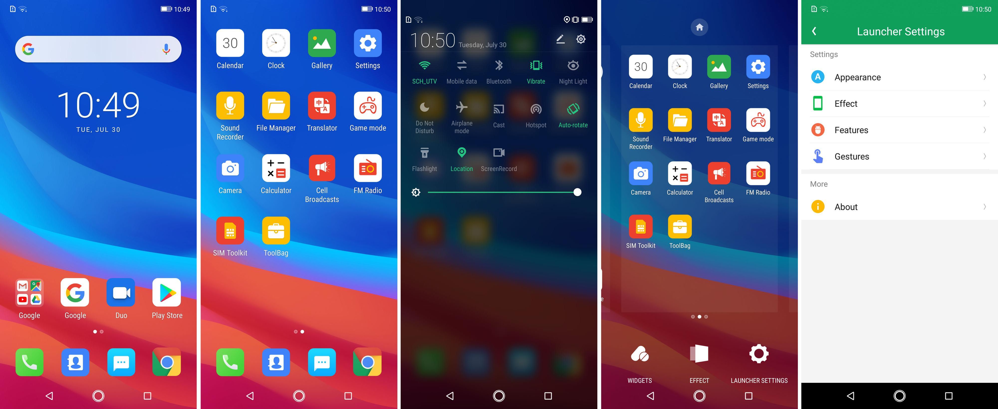 Grensesnittet er Ulefones eget, oppå Android 9.0 Pie.