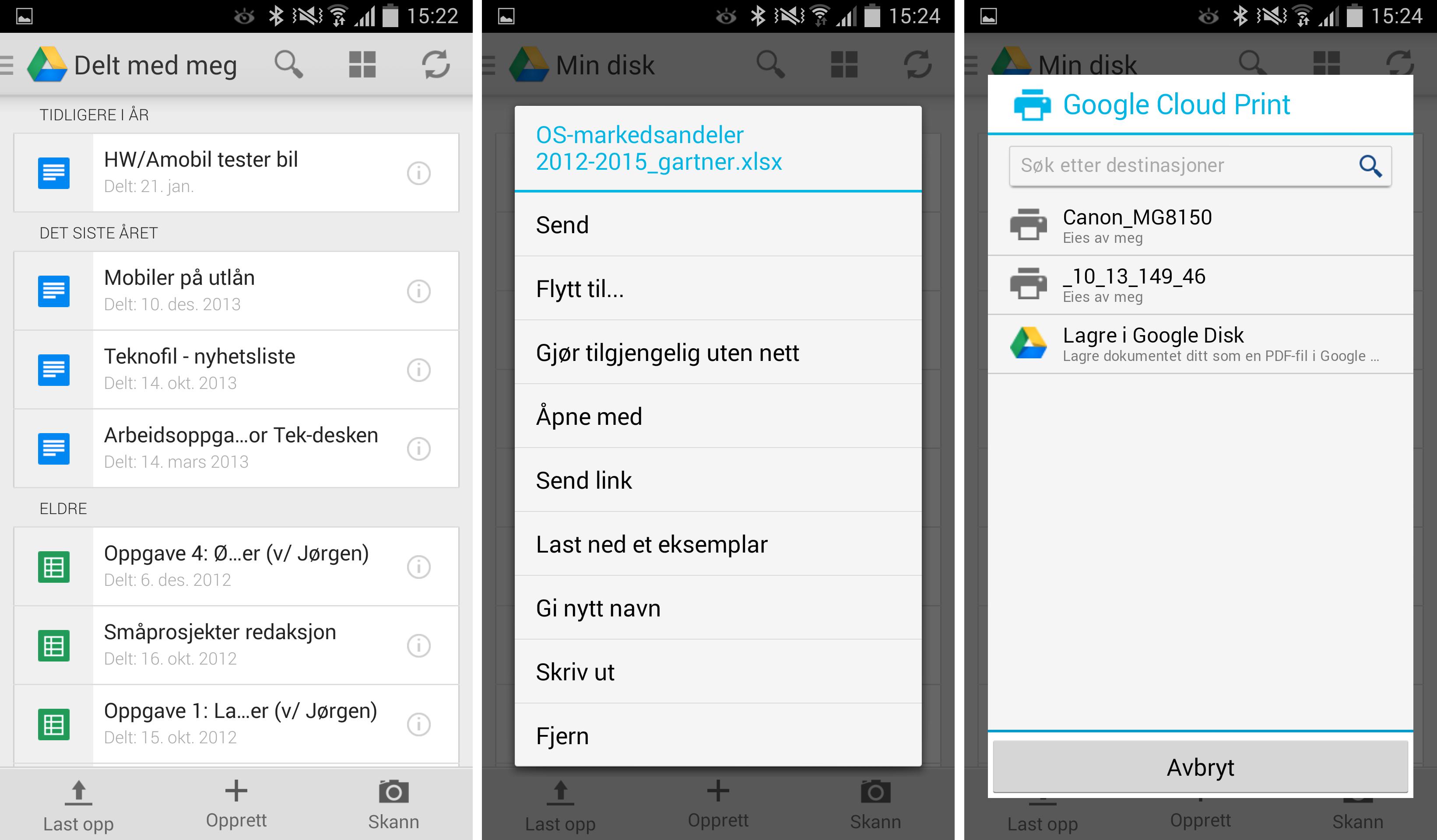 Installerer du Google Disk for Android eller iOS, er det enkelt å skrive ut dokumentene dine.