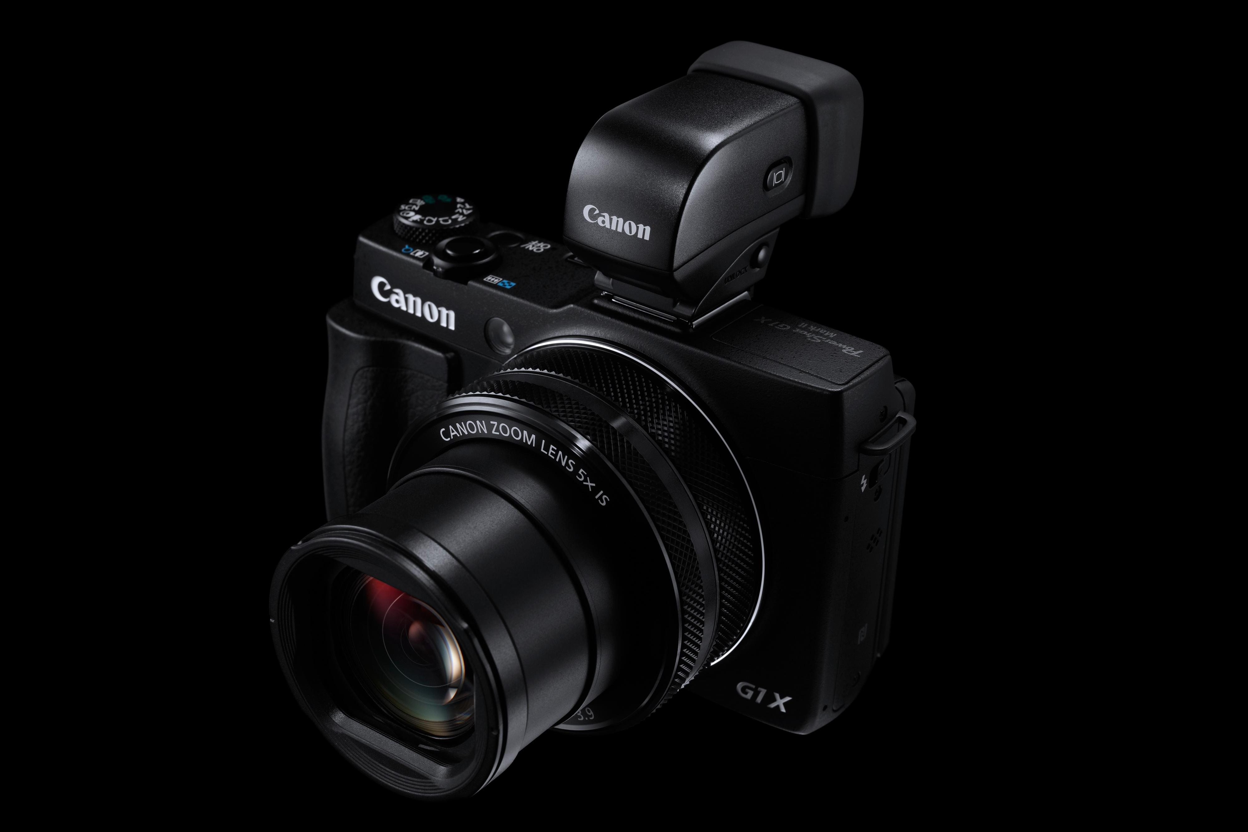 Canon Powershot G1 X Mark II med den elektroniske søkeren.Foto: Canon