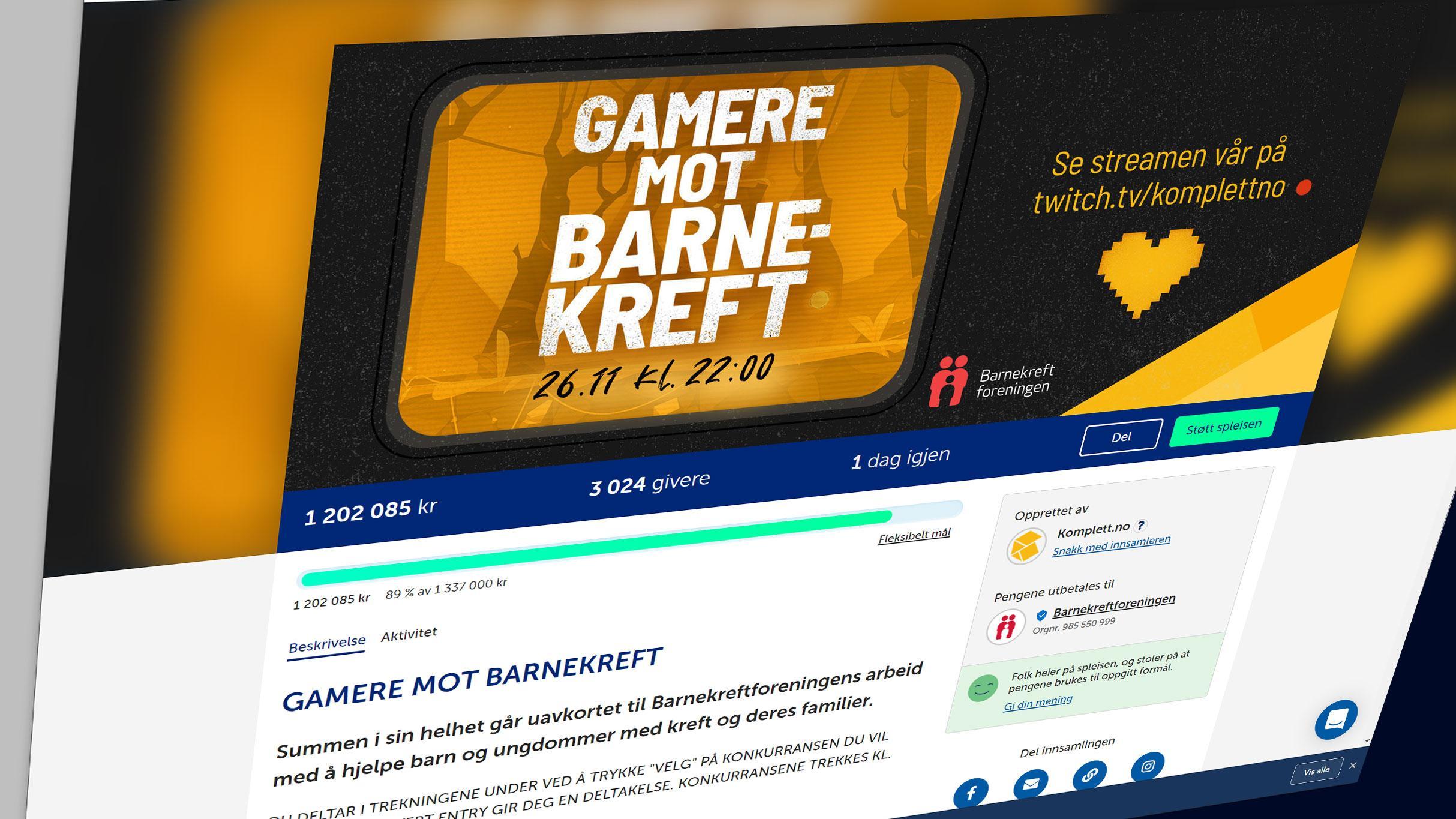 «Gamere mot Barnekreft» samlet inn over én million kroner på bare noen timer