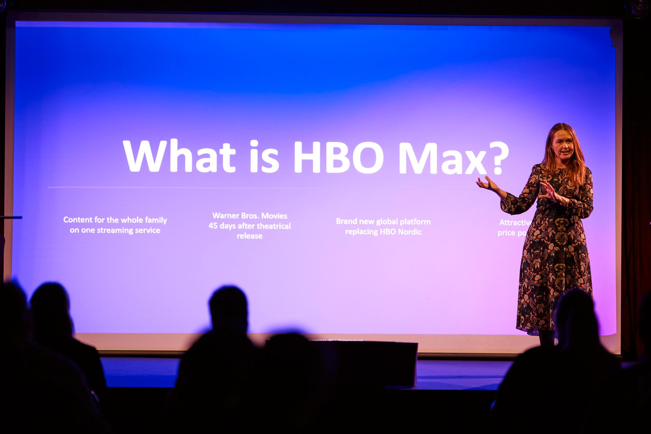 Christina Sulebakk, General Manager, HBO Max EMEA, presenterte den nye strømmetjenesten på et arrangement i Oslo.