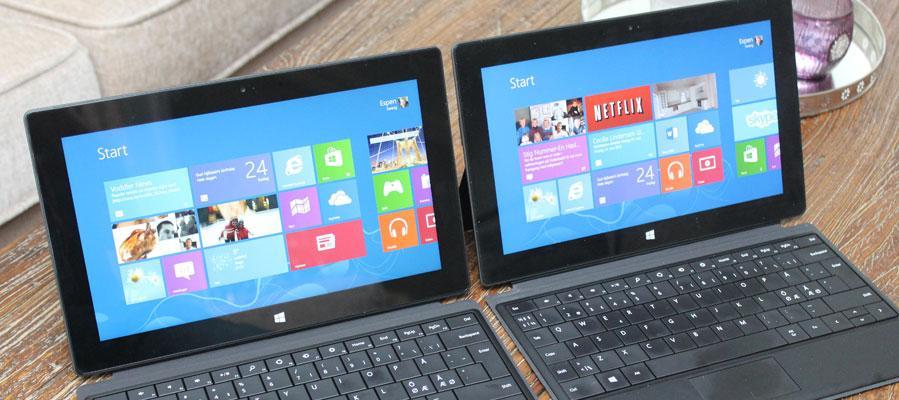 Tilsynelatende to like nettbrett, men det ene er en PC.Foto: Espen Irwing Swang, Amobil.no