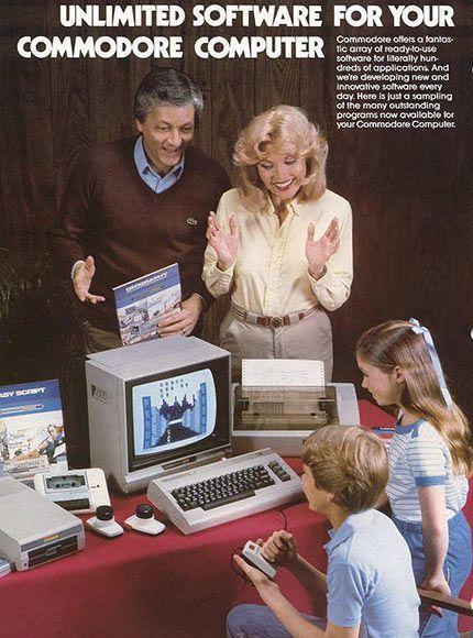 Nok damer for denne gangen. Her har vi en familie som elsker sin nye Commodore 64! Og hvem kan klandre dem, egentlig? Jeg elsker også min Commodore 64. Foto: Commodore