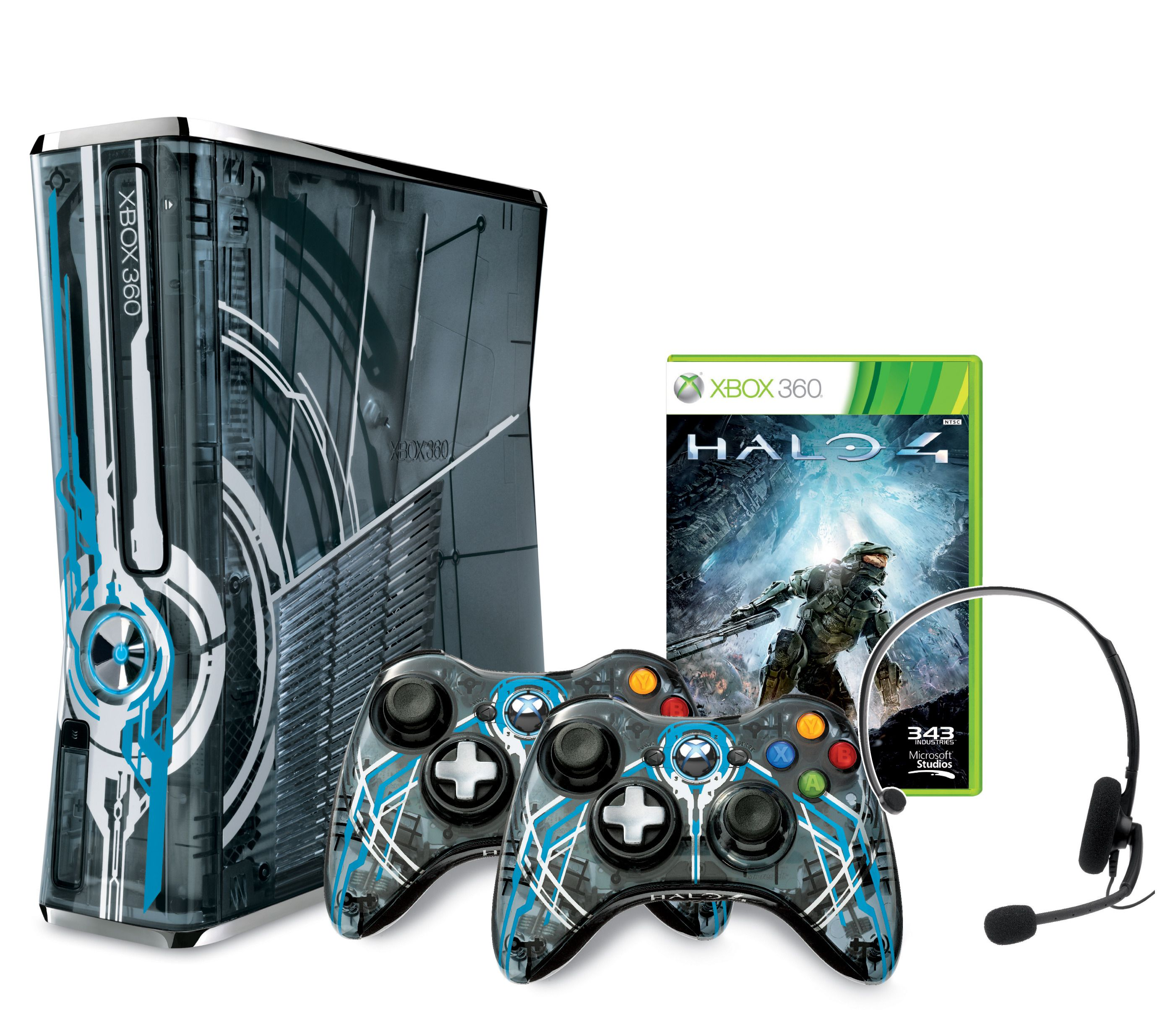 Xbox 360-konsoll med Halo 4-design, matchende kontrollere, headset og spill.Foto: Microsoft
