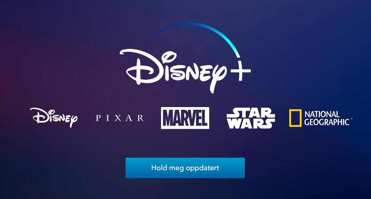 Den norske Disney+-nettsiden inneholder foreløpig bare en «Hold meg oppdatert»-knapp.