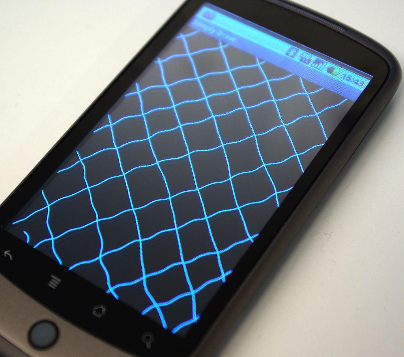 Jo rettere de diagonale linjene er (tegnes sakte med fingeren), jo mer presis er skjermen. Nexus One er svært presis i kantene, men ellers litt mindre presis enn Iphone.