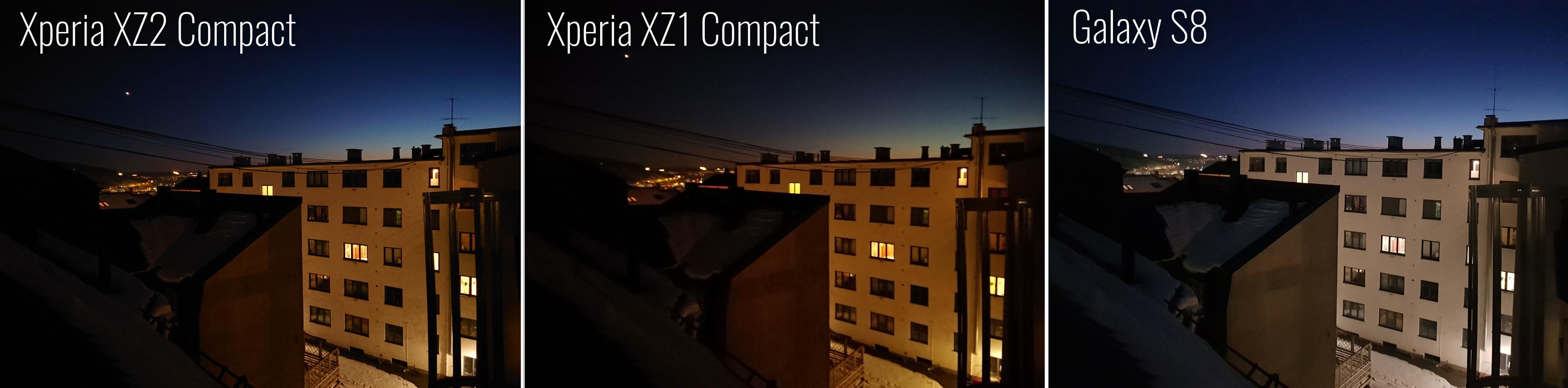 Galaxy S8 tar innersvingen på XZ2 Compact i mørke omgivelser.