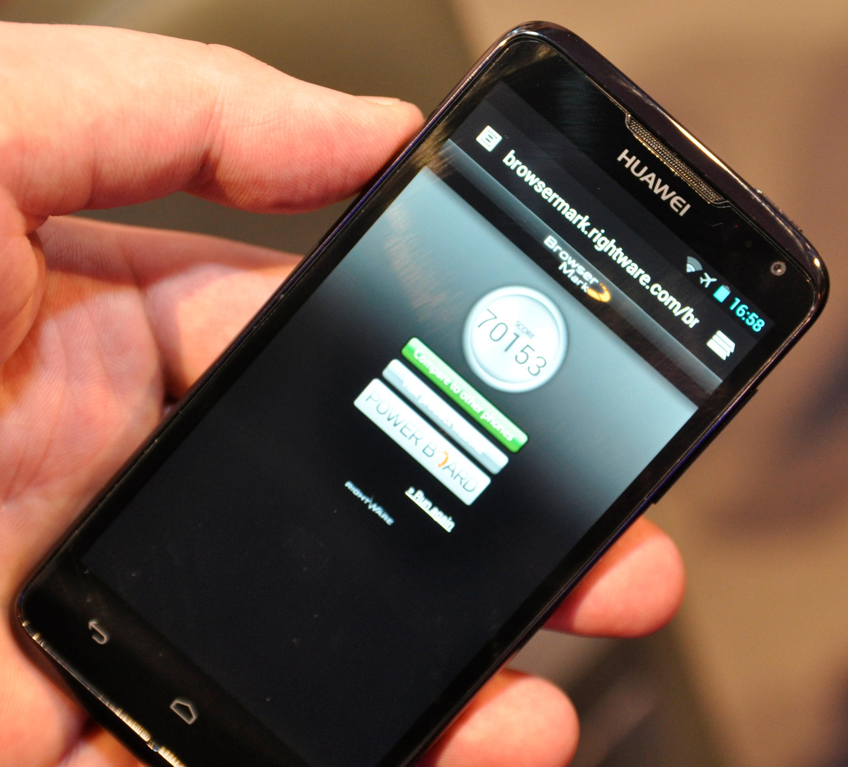 Browsermark måler nettleserytelse. Her kommer Ascend D quad veldig godt ut, men her har vi sett bedre resultater i enkelte andre nettbrett og mobiltelefoner.