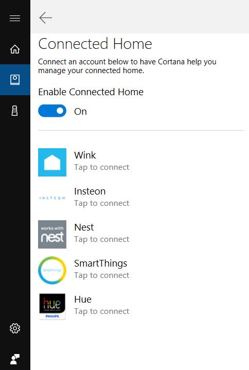 Slik ser den nye Connected Home-menyen ut. Foreløpig er det bare de fem avbildede aktørene som er støttet.