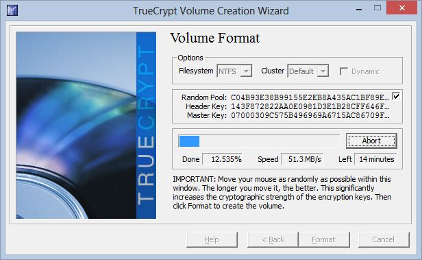 Etter å ha valgt et passord, lager programmet krypteringsnøkler og går i gang med å opprette filbeholderen.