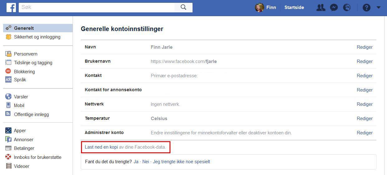 Du kan laste ned og se gjennom dine egne Facebook-data.