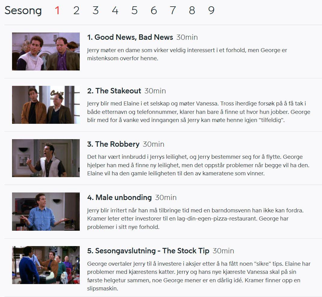 Viaplay viser alle de 180 episodene av Seinfeld. Foto: skjermbilde