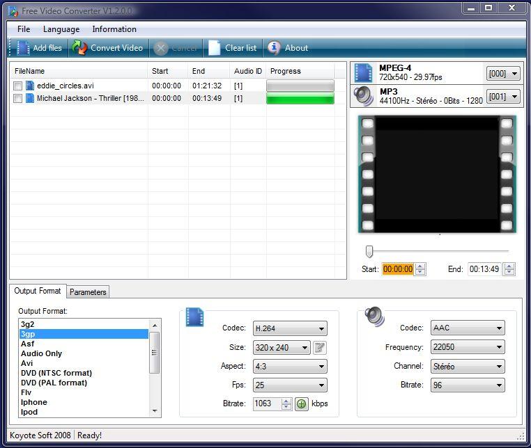 Eksempel fra Koyote: Her har vi valgt kodek H264, størrelse 320x240 piksler, sideforholdet 4:3, 25 bilder per sekund og en bithastighet på 1063 kbps. Nederst til venstre har vi valgt filformatet 3GP. (Klikk for større bilde)