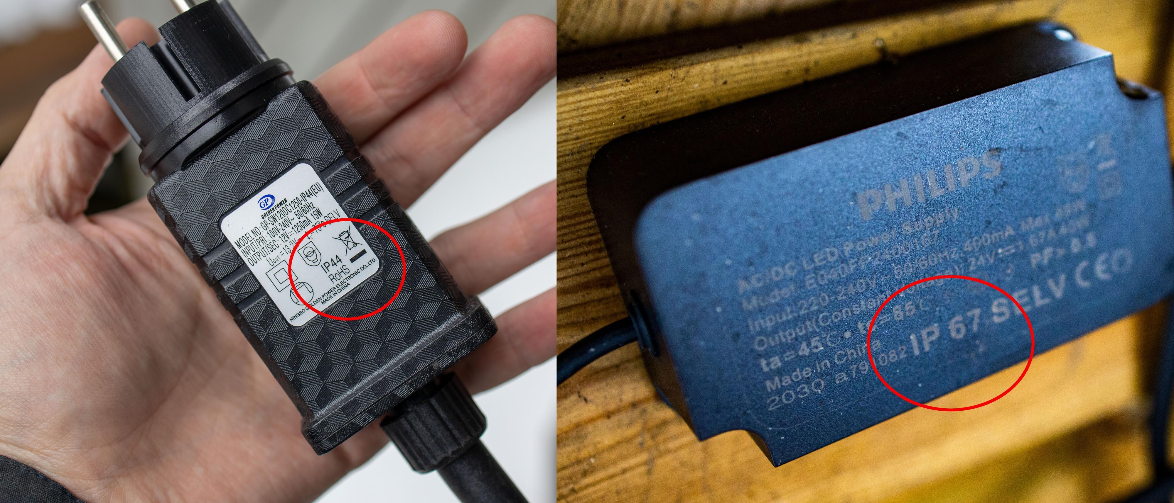 Selv om alle lampene i testen er ekstra sikret mot vann og støv, med enten IP65- eller IP67-tetning, har Ledvances strømplugg bare IP44. Dermed må du være litt ekstra forsiktig hvor du plugger den inn sammenlignet med Philips-lampene.