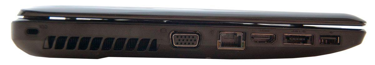 På venstresiden: Kensingtonlås, VGA, LAN, HDMI eSATA/USB 2.0 og én USB 2.0