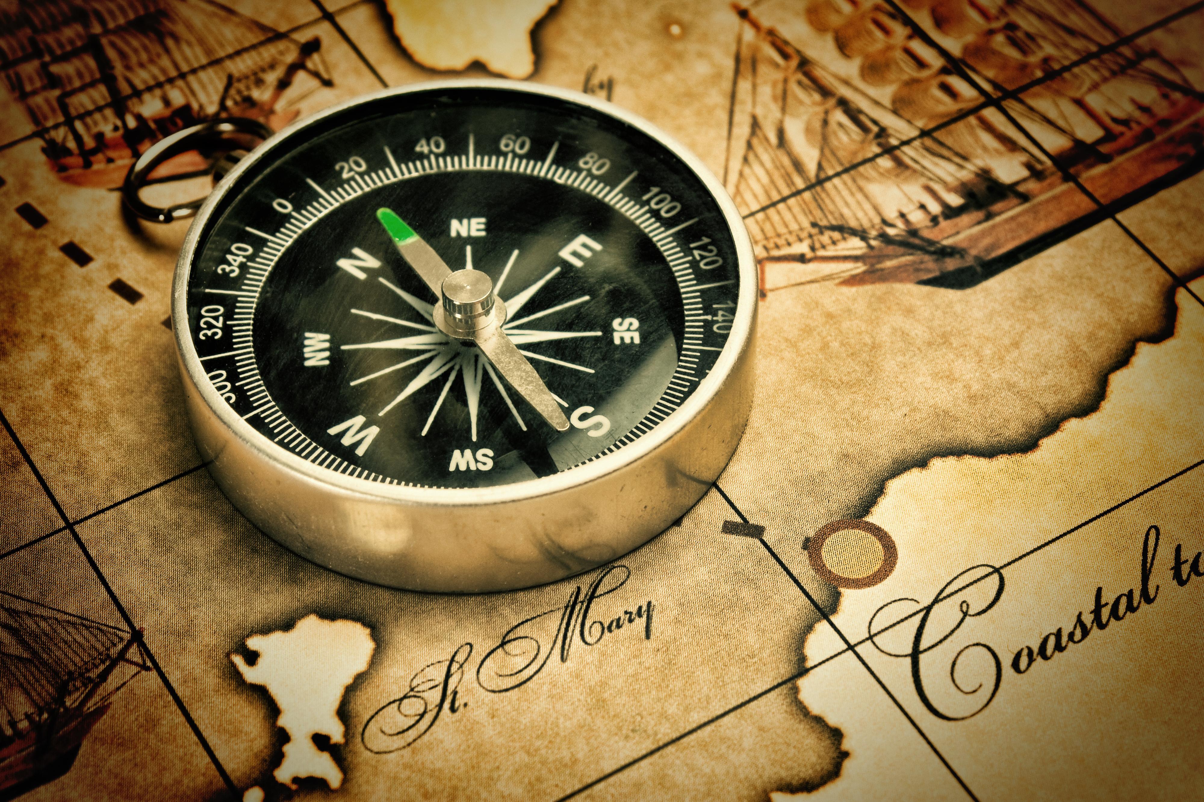Før gyroskopet ble en del av mobilene våre ble det digitale kompasset både brukt til navigasjon og som styringsmetode i spill og utvidet virkelighet.Foto: Shutterstock.com