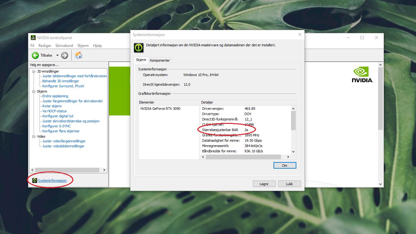 Her i Nvidias kontrollpanel ser vi at ReBAR er aktivert.