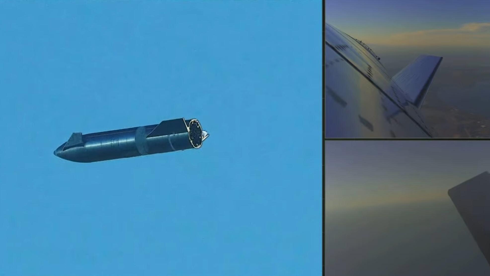 Starship-prototypen i fritt fall. Dette er altså en rakett som ikke stuper, men bruker «kroppen» og finnene til å bremse og styre.