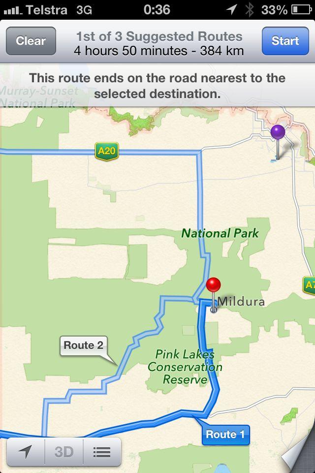 Mildura, Vic., ligger egentlig der den lilla stiften er på dette kartet.