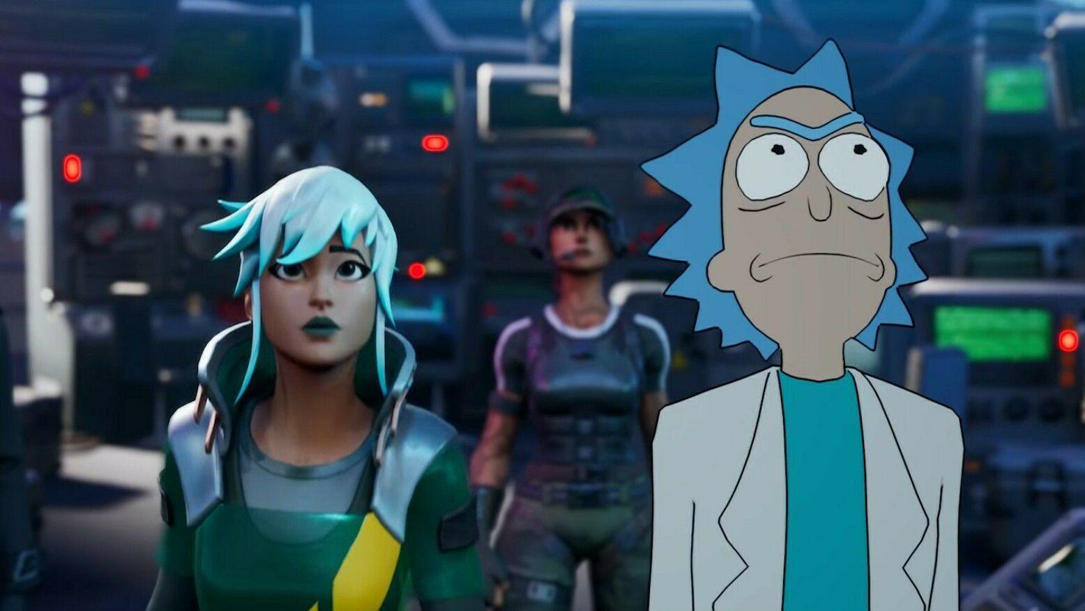 Rick and Morty inntar Fortnite.