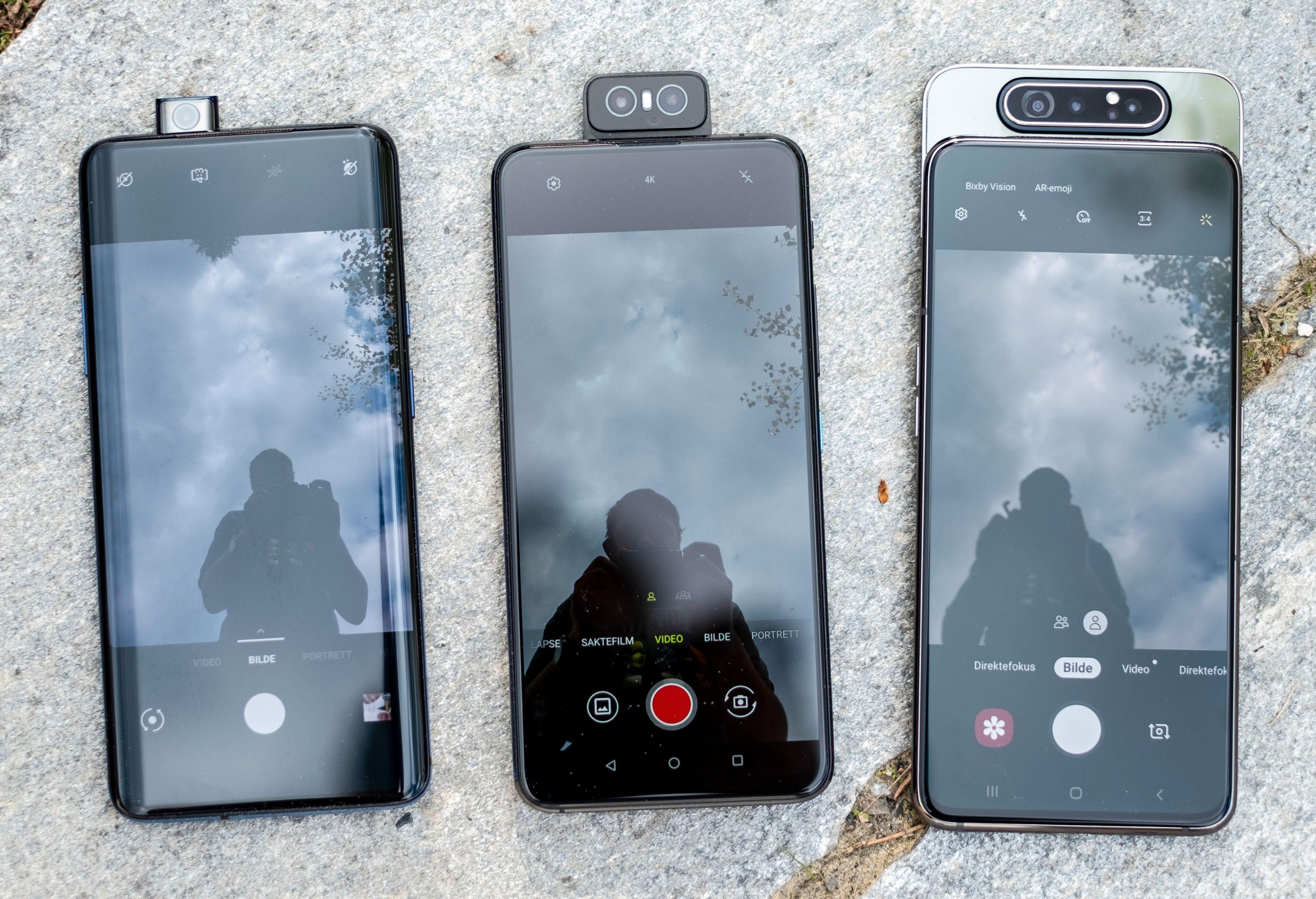 De tre særeste selfiekameraene på telefoner du kan kjøpe i norske butikker akkurat nå - fra venstre: OnePlus 7 Pro, Asus Zenfone 6 og Samsung Galaxy A80.