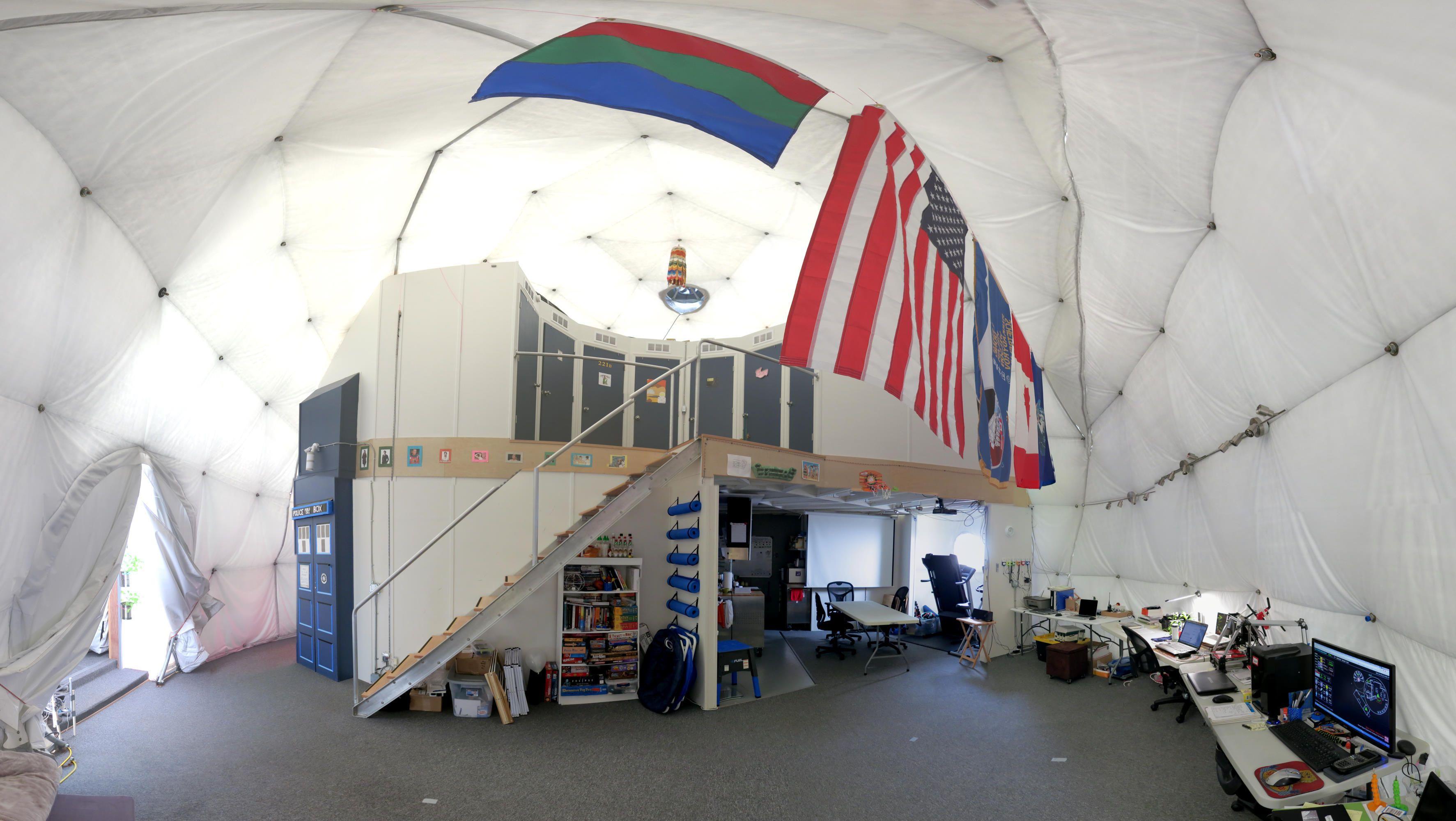 Slik ser kuppelen ut inne. Dette bildet er fra forrige «ekspedisjon». Foto: University of Hawaii at Manoa