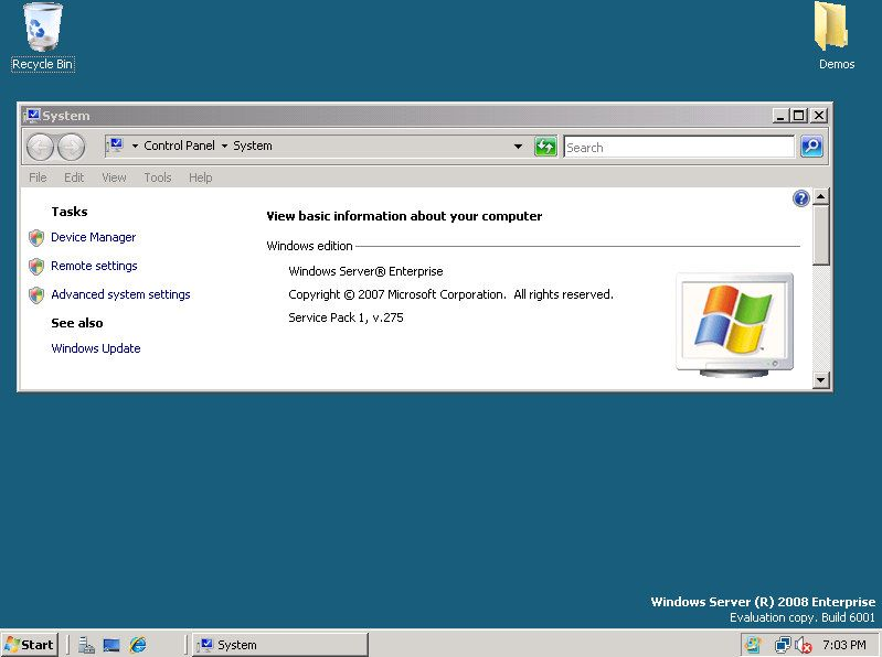 Skjermbilde fra Windows Server 2008