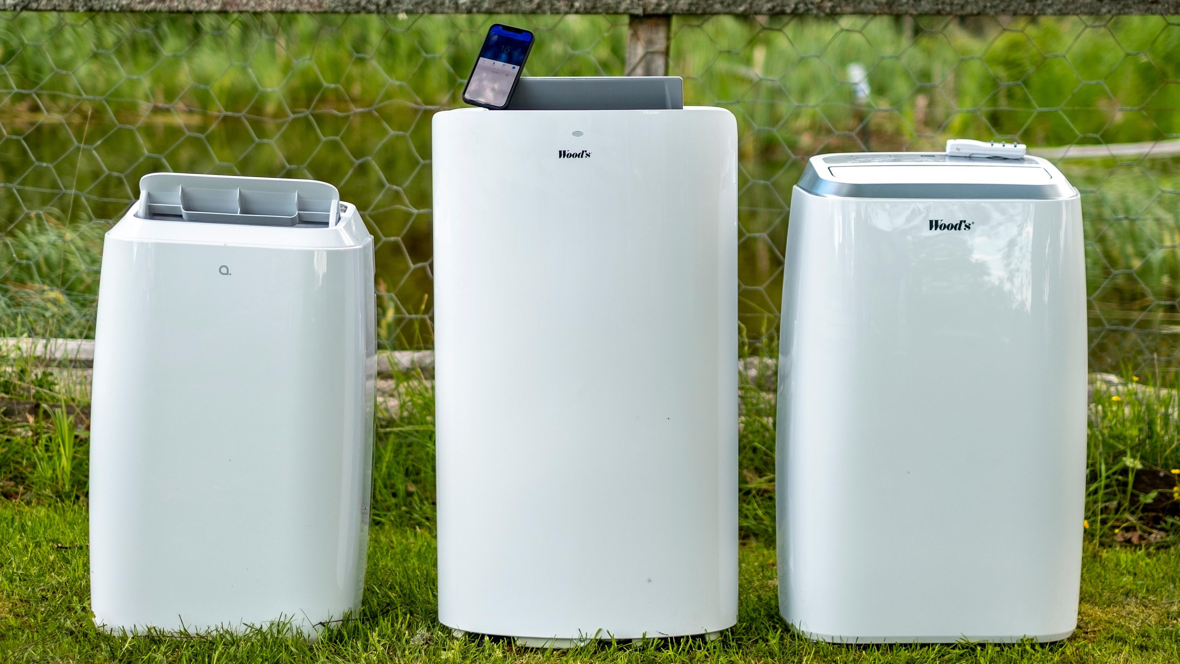 Fra venstre; Andersson ARC 3.3 WiFi, Wood's Cortina Silent Wifi og Wood's Venezia 18k. De to første er appstyrte og kan for eksempel kobles til Google, mens den siste lover å være bjørnesterk sammenliknet med flyttbare klimaanlegg flest.