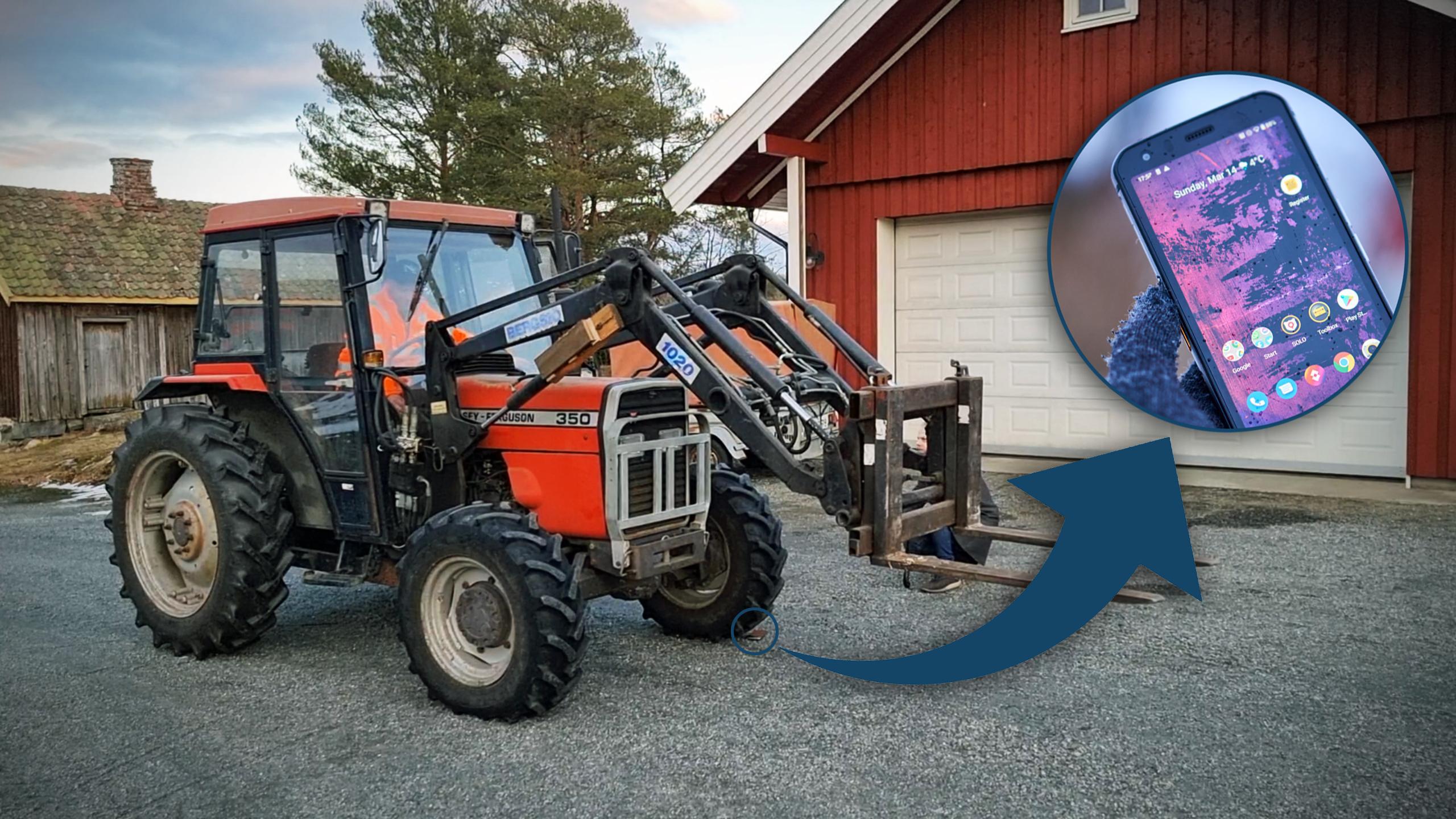 Her kjører vi over testmobilen med traktor