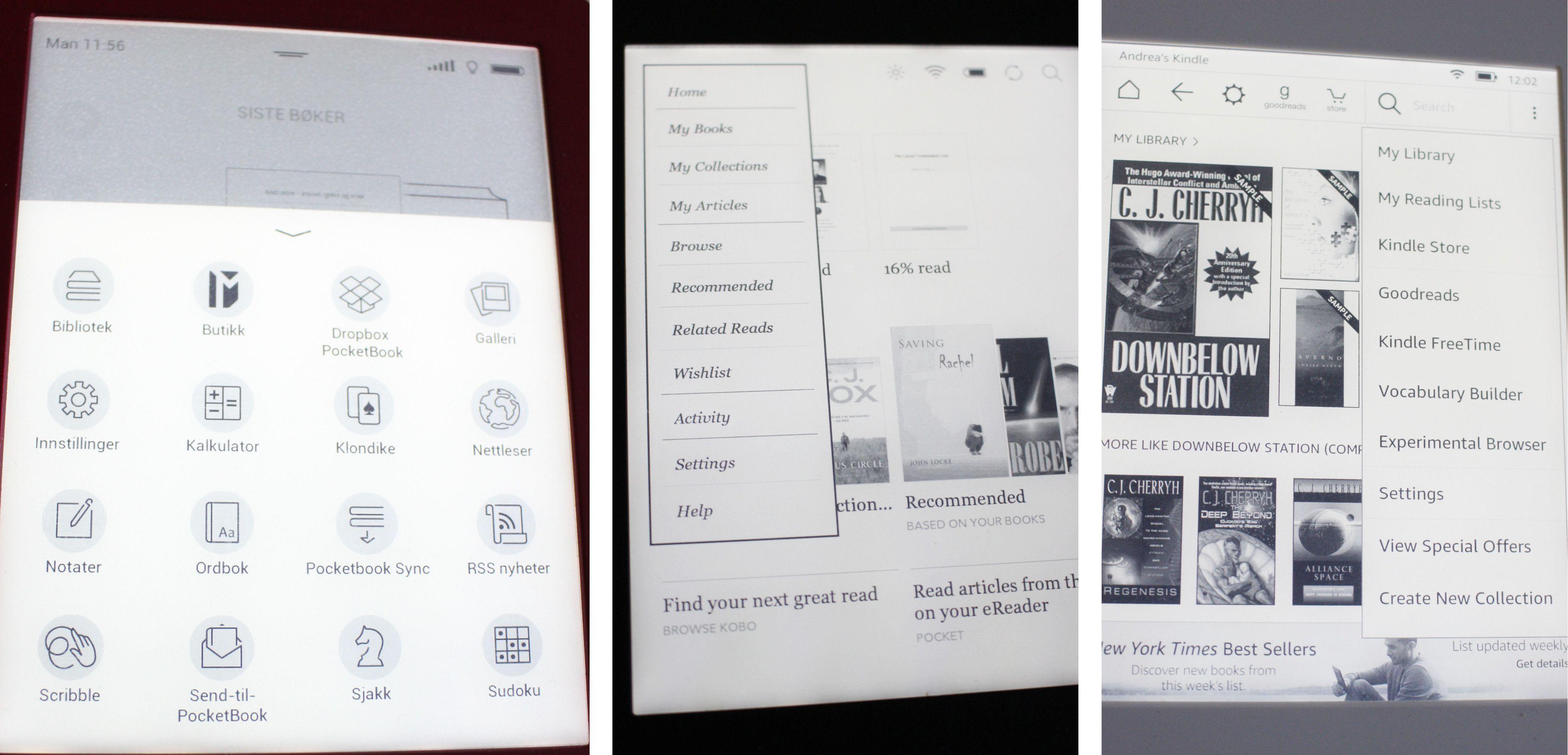 Lesebrettene har litt forskjellige menyer. PocketBook (til venstre) skiller seg fra Kobo (midten) og Paperwhite (høyre) som den mest oversiktelige og lettleste.