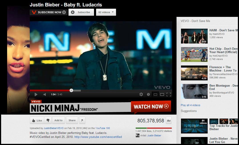 Justin Bieber må se seg slått av koreanske PSY.Foto: YouTube