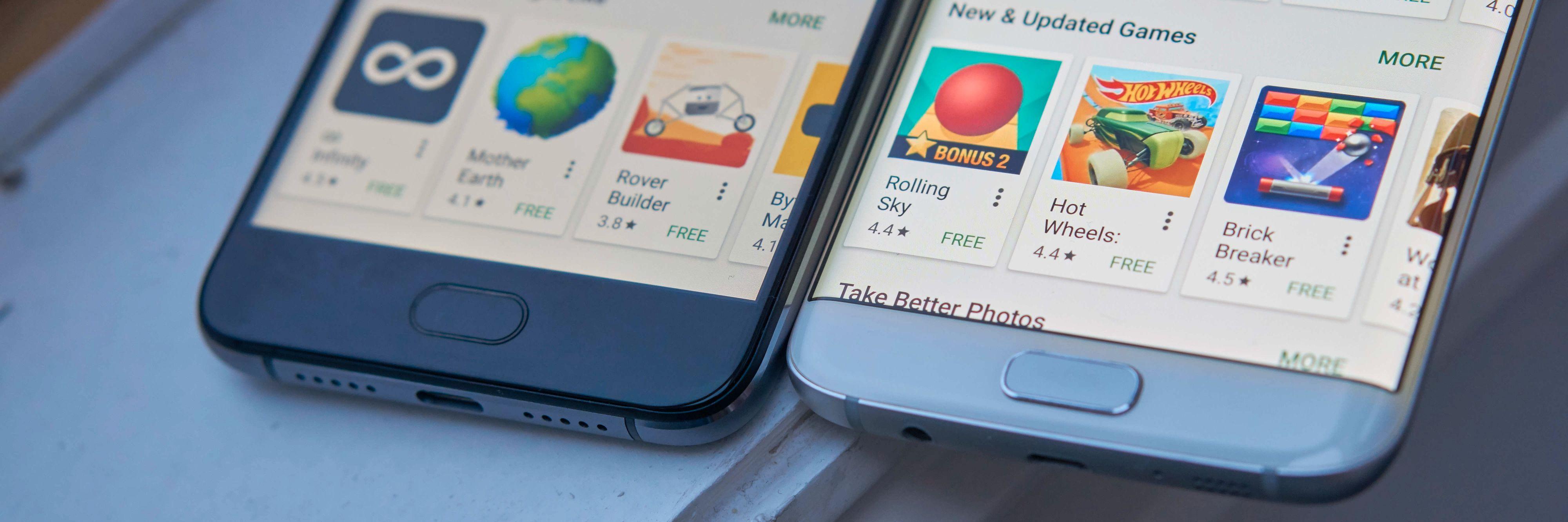 UMI Plus er noe lengre enn Galaxy S7 Edge, selv om skjermen er like stor. Samsung har også et langt tyngre tilpasset system.