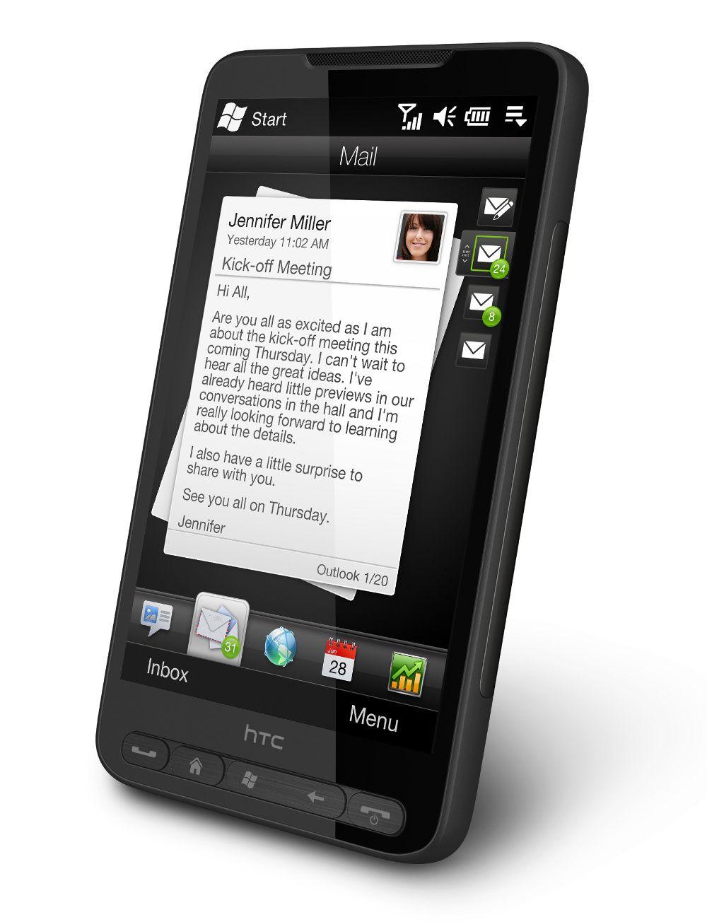 Slik ser dagens HTC HD2 ut, med 4,3 tommer stor skjerm og Windows Mobile som operativsystem.
