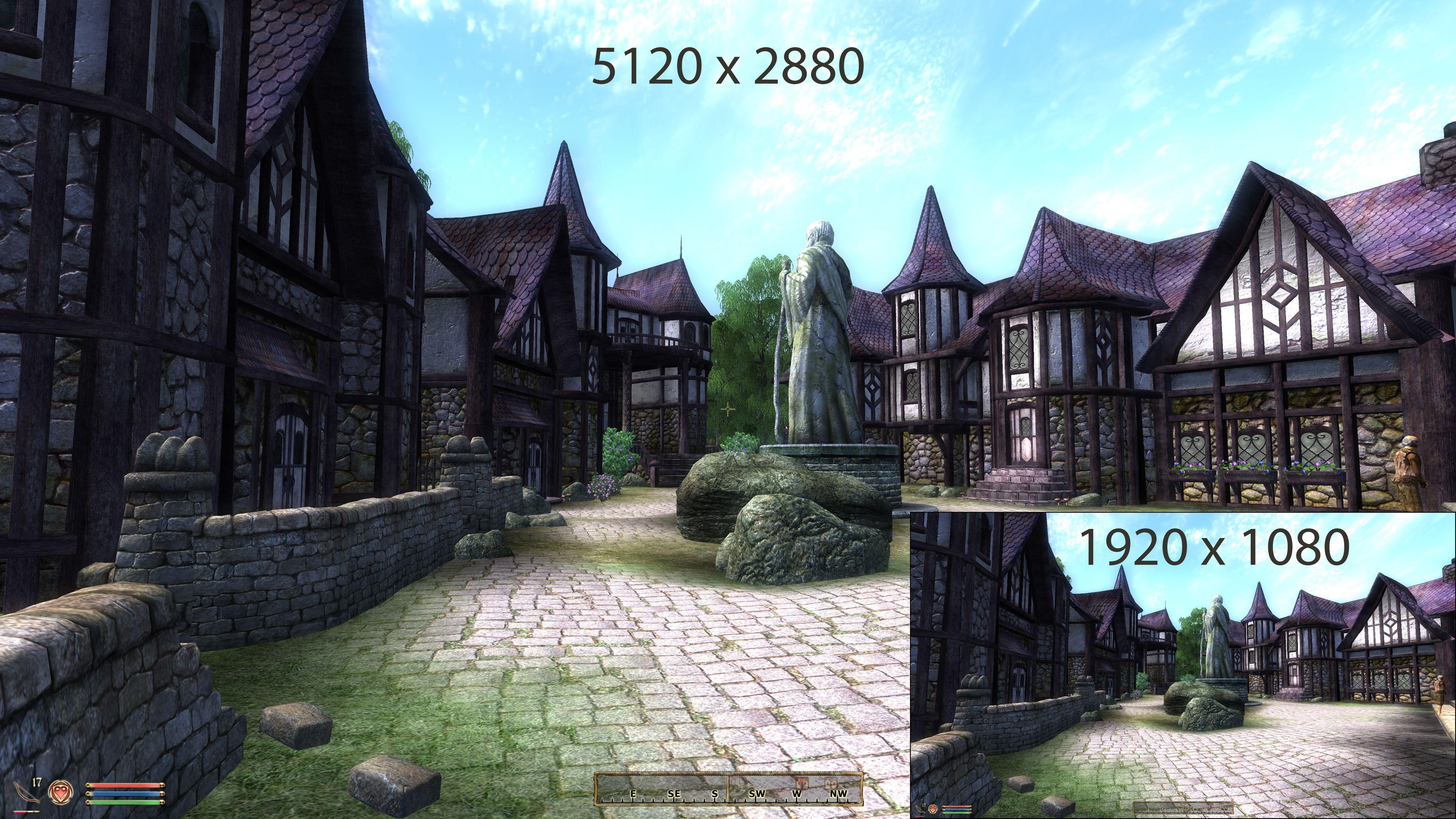 Selv om skjermen din eksempelvis bare støtter Full HD-oppløsning rendres bildet med DSR eller VSR i en langt høyere oppløsning, som her 5120 x 2880 piksler. Det gir langt høyere skarphet. Klikk for større versjon.