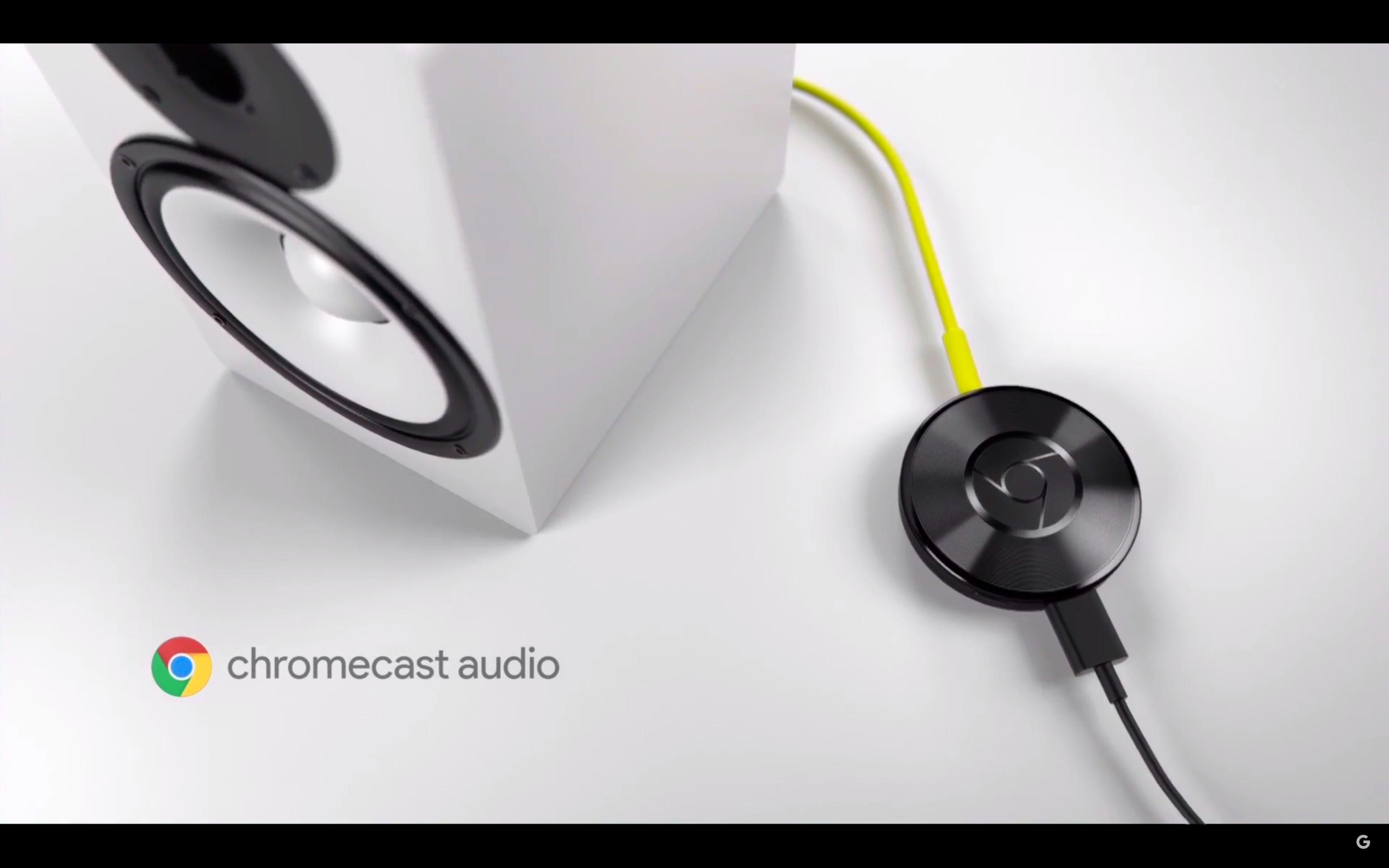 Chromecast Audio er en egen musikkdings som kan plugges inn i lydanlegget ditt. Foto: Skjermdump/Google