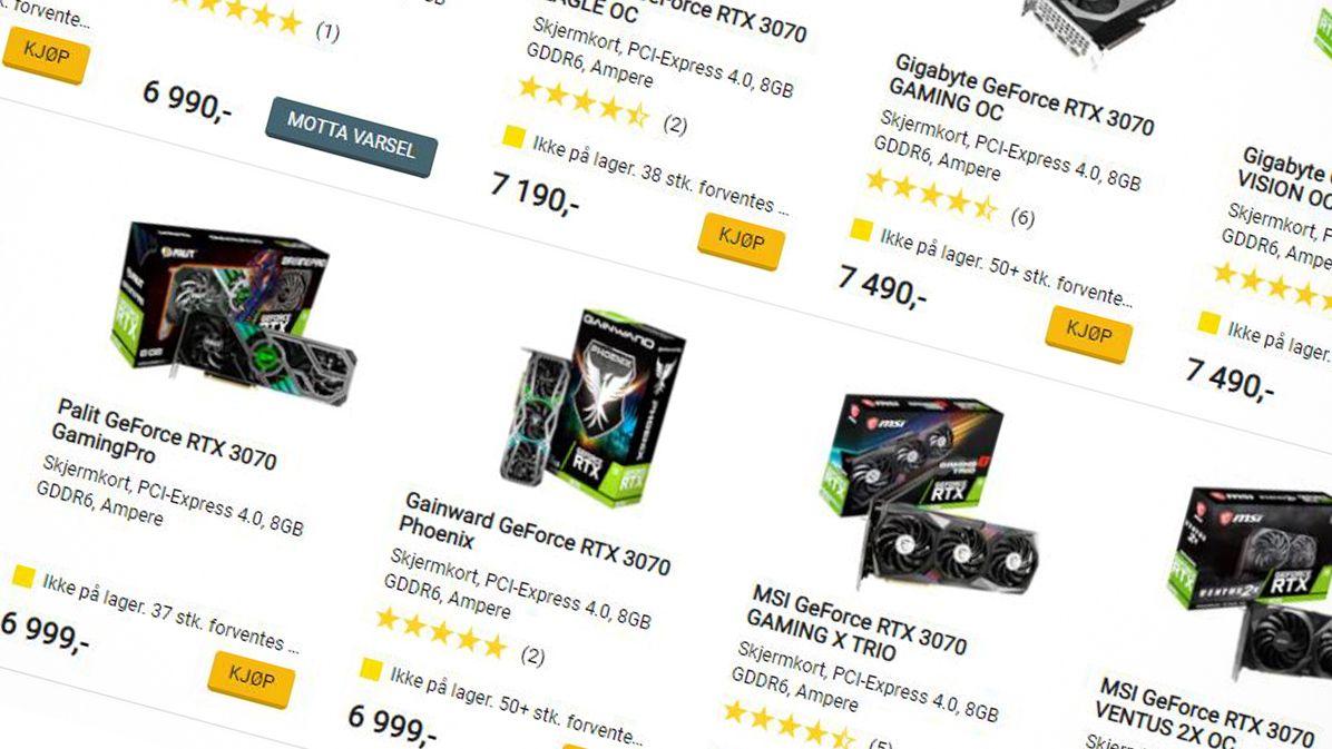 Lagerstatus hos Komplett.no, som i likhet med andre norske nettbutikker har knapt med grafikkort på lager.