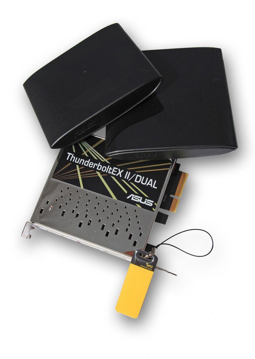Enhetene for NFC og trådløs lading, NFC-nøkkelring og ekspansjonskortet med to DisplayPort- og to ThunderBolt-kontakter. Foto: Sindre Eldøy - Hardware.no