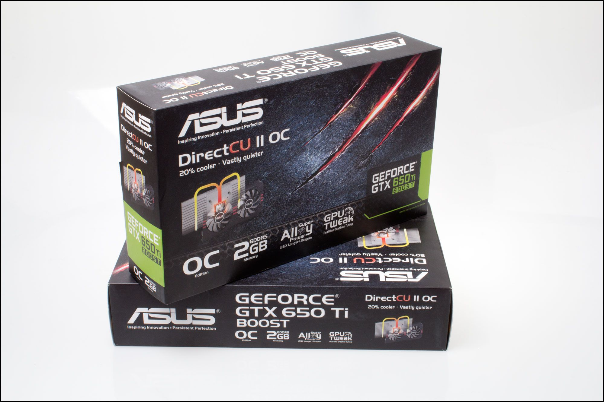 Asus GeForce GTX 650Ti BOOST DirectCU II OC: Produktesker.Foto: Varg Aamo, Hardware.no